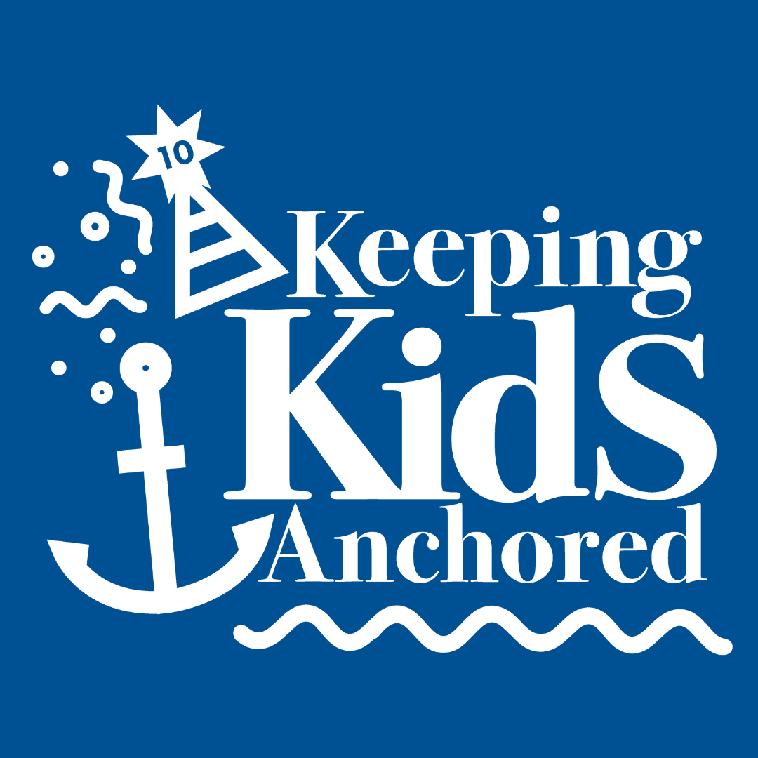 keeping kids anchored logo on dark blue background